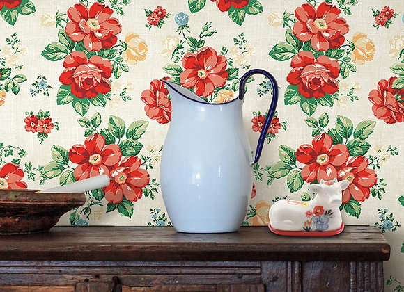 """The Pioneer Woman Beige and Red Peel and Stick Wallpaper, Vintage Floral, 18"""" x"""