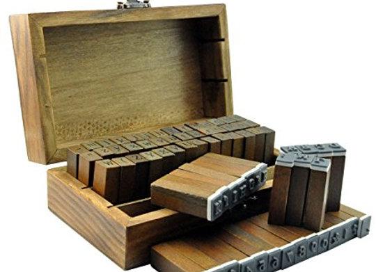 70 pcs Vintage Wooden Rubber Alphabet Letter Number And Symbol Stamps Set For D