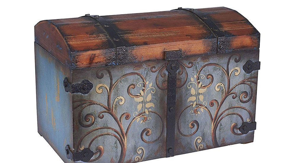 Household Essentials Vintage Wood Storage Trunk