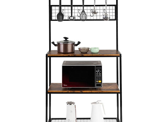 UBesGoo 3-Tier Vintage Kitchen Baker's Rack with Hooks and Gridwall