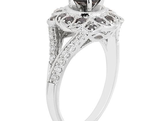 Boston Bay Diamonds 1 Carat T.W. Black & White Diamond Vintage Floral Diamond R