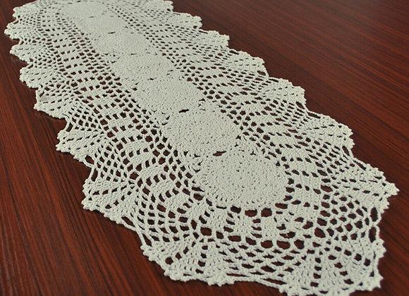 White Vintage Lace Table Runner Dresser Scarf Hand Crochet Doily Floral 30x80cm