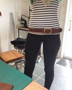 Custom Belt with enough holes punched so it can be worn low slung or higher up on the waist_