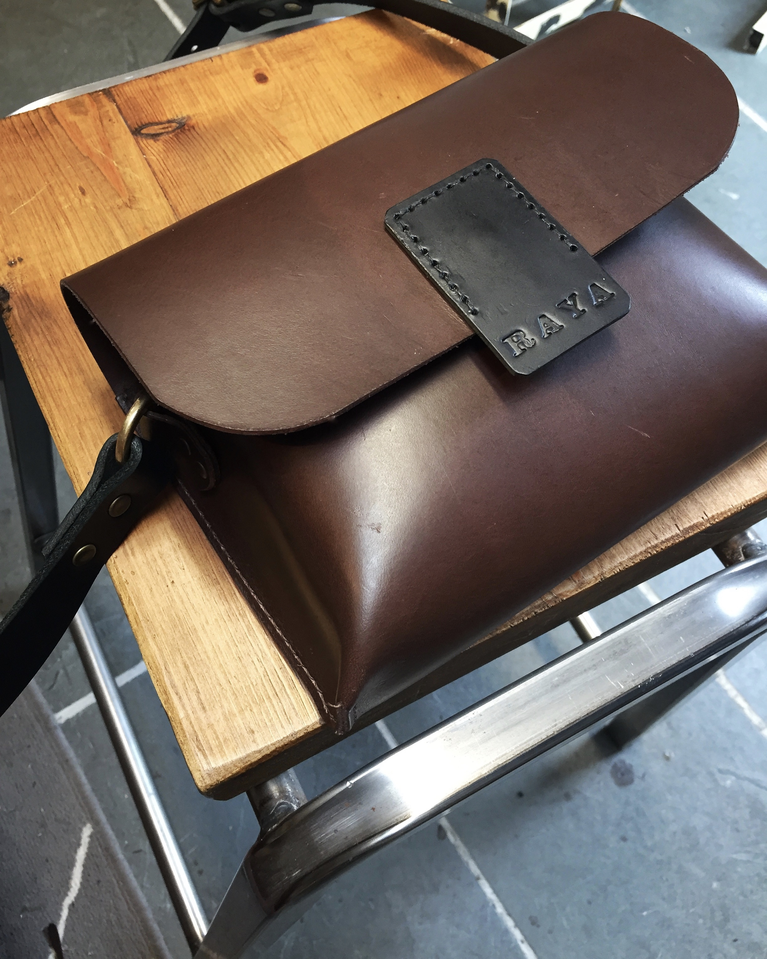Lovely contrast in the Chestnut and Black vegetable tanned leathers_
