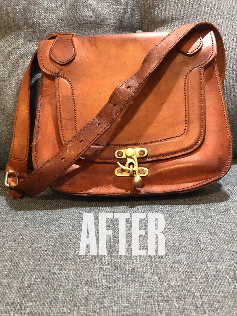 Restored Leather Saddle Bag