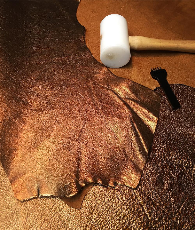 Copper metallic leather