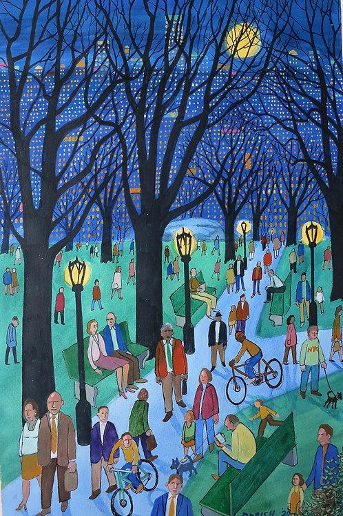 "Dorish: ""Park Scene With Yellow Moon"""