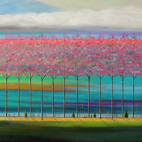 "Johnston : ""Pink Trees on Teals"""