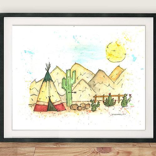 Teepee and Cactus Illustration