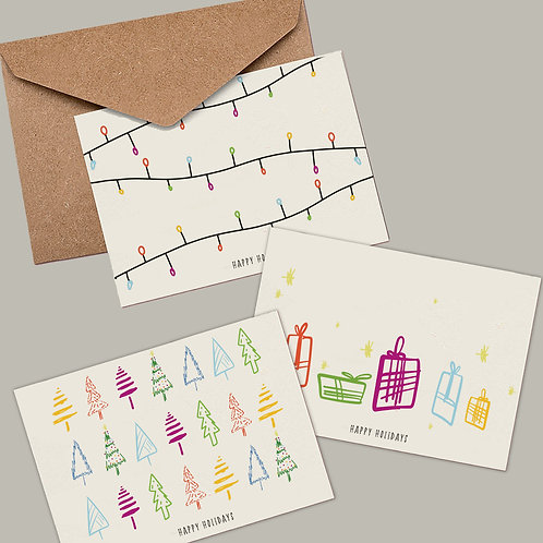 Modern Christmas Card Set