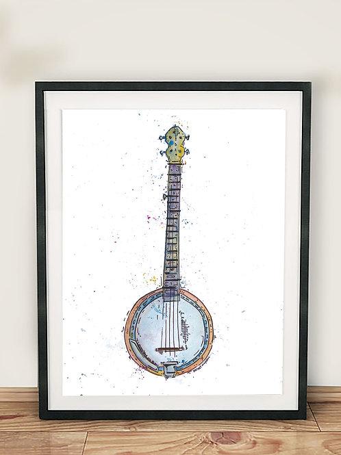 Watercolor Banjo