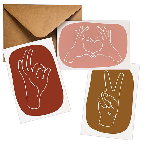12-Pack Hands Peace, Love, Ok