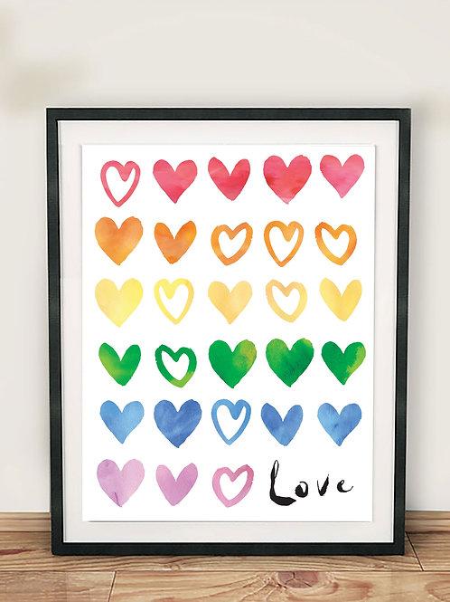 Rainbow Love Hearts