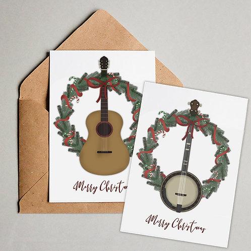 8-Pack Bluegrass Instrument Christmas Cards