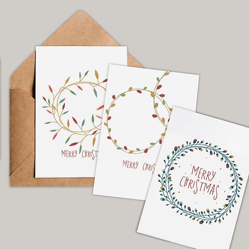 Modern Wreath Christmas Card Set