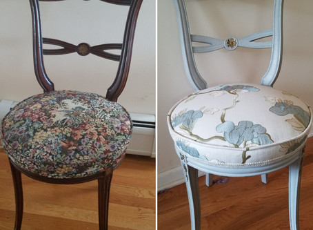 Re-upholstering a Vintage Chair:  BEFORE & AFTER