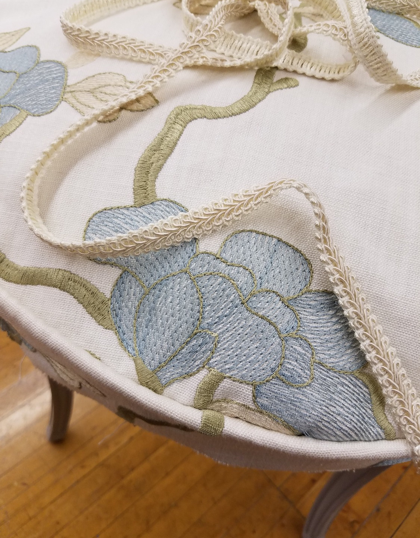 Pale Blue Floral Fabric, Cream Braid