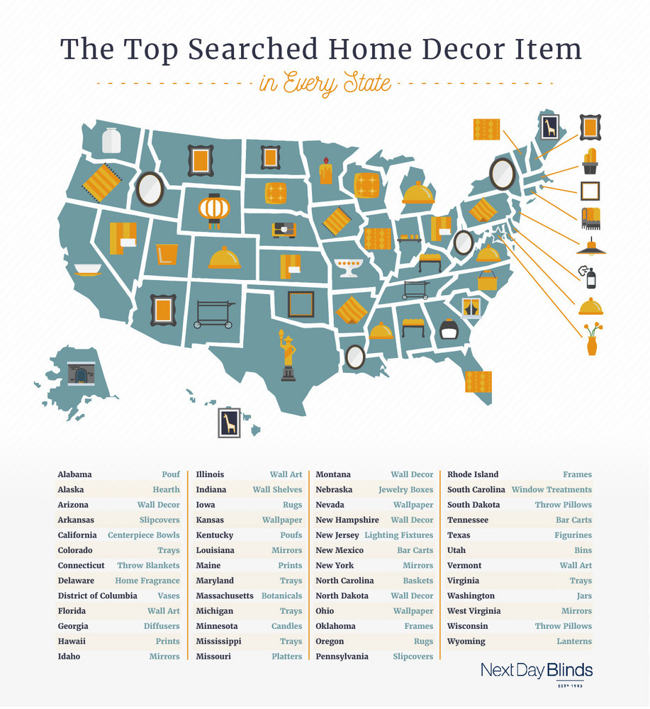 US Map of Most Desired Home Decor Items
