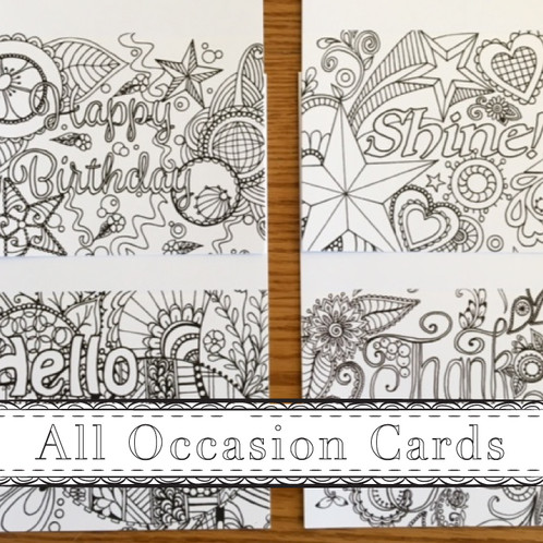 All Occasion Coloring Greeting Cards