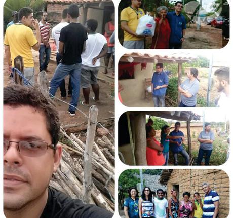 equipes de voluntários em povoado
