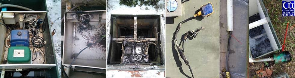 Может сгореть насос для сброса очищенных стоков или блок управления септика, датчик уровня. Сервисный центр ТОПАС.