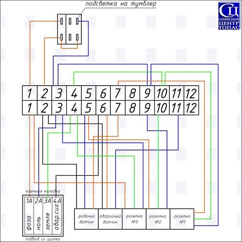 Схема электрическая монтажная ТОПАС 5-30 с принудительным насосом
