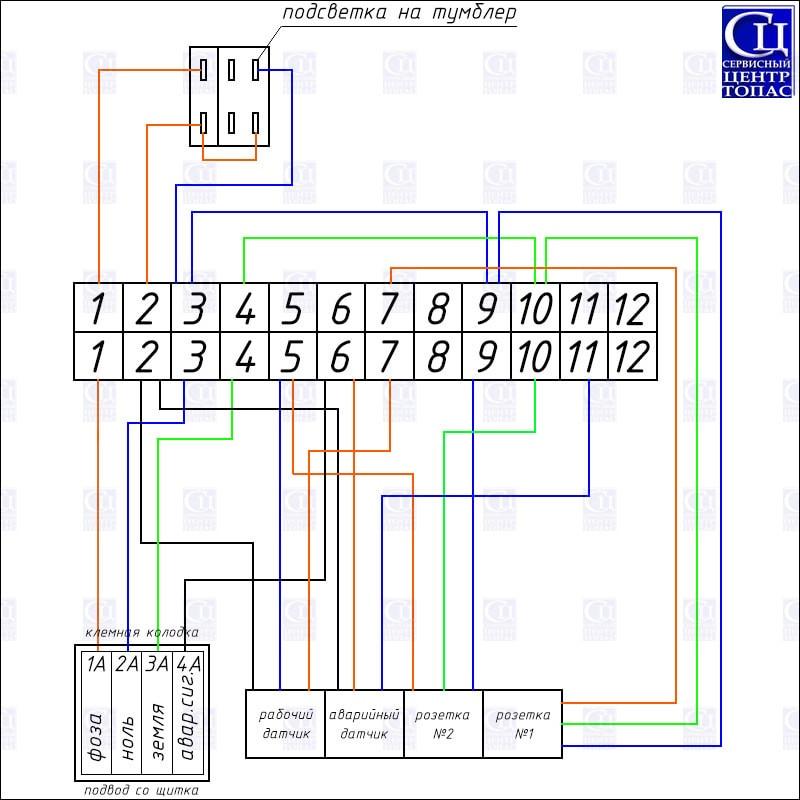 Схема электрическая монтажная ТОПАС 5-30 самотек