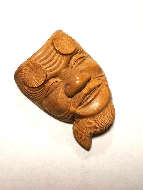天泯作白檀翁彫刻アンティーク帯留