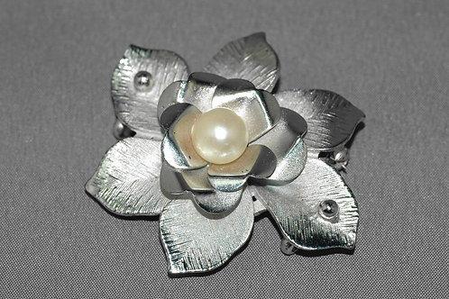真珠花アンティーク帯留ブローチ
