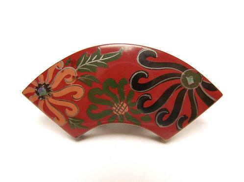 木製漆塗り蒔絵 螺鈿細工 菊花文様 アンティーク帯留