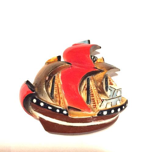 陶器帆船アンティーク帯留