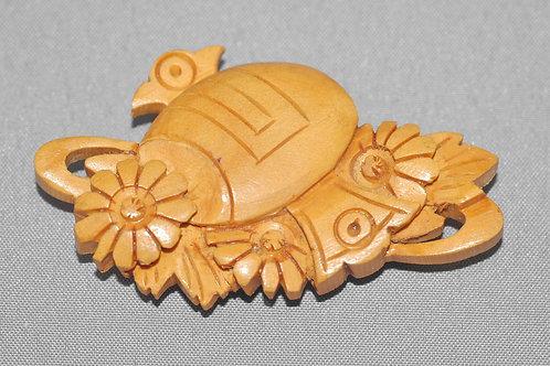 天然木小槌花彫刻アンティーク帯留