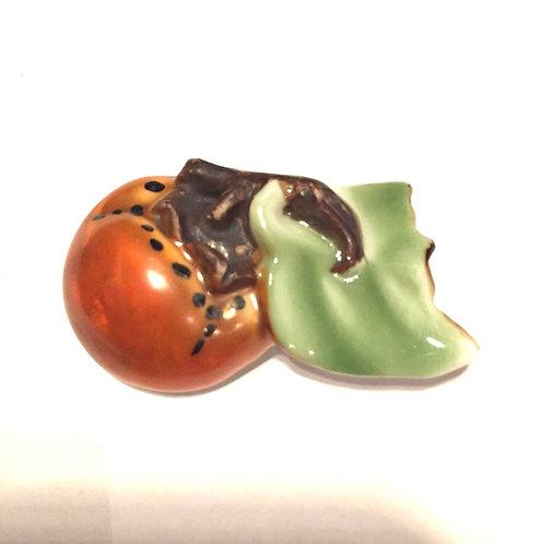 陶器柿アンティーク帯留