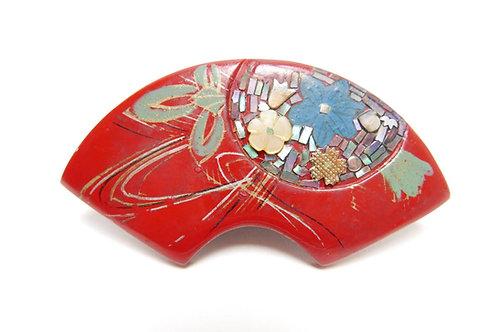 木製漆塗り蒔絵 螺鈿象嵌細工 花文様 アンティーク帯留