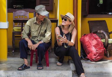 Chatting with friendly locals in Vietnam