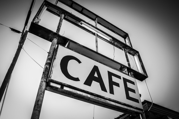 Black and white cafe sign in Eden, Texas.