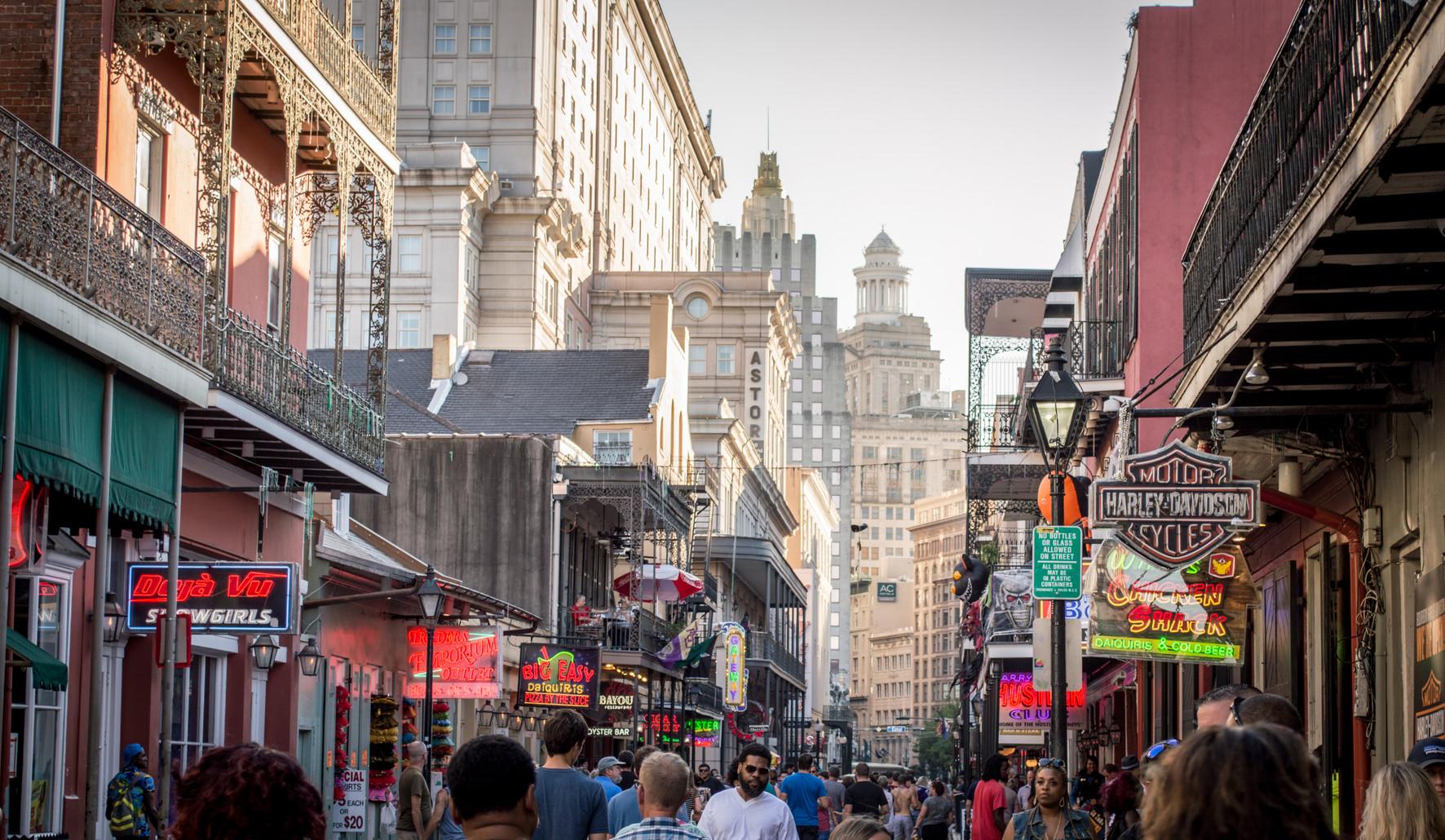 Bourbon Street towards downtown, New Orleans