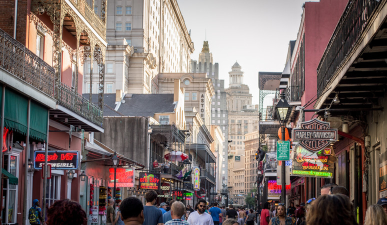 Bourbon Street towards downtown, New Orleans