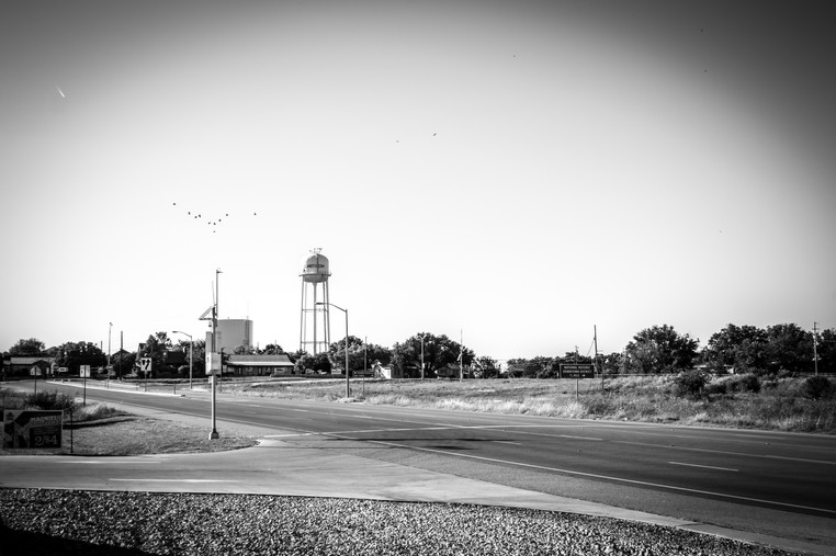 Birds and water towers in Texas.