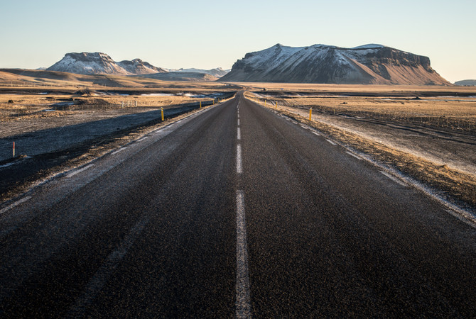 Frozen roads in Iceland's golden circle.