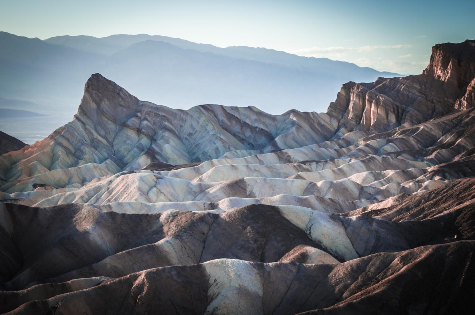 The strikingly striped rocks of Zabriskie Point, Death Valley, California
