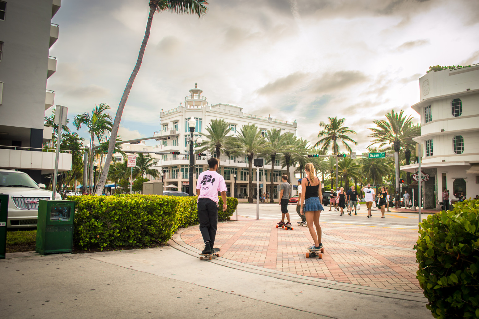 Skateboarders in South Beach, Miami
