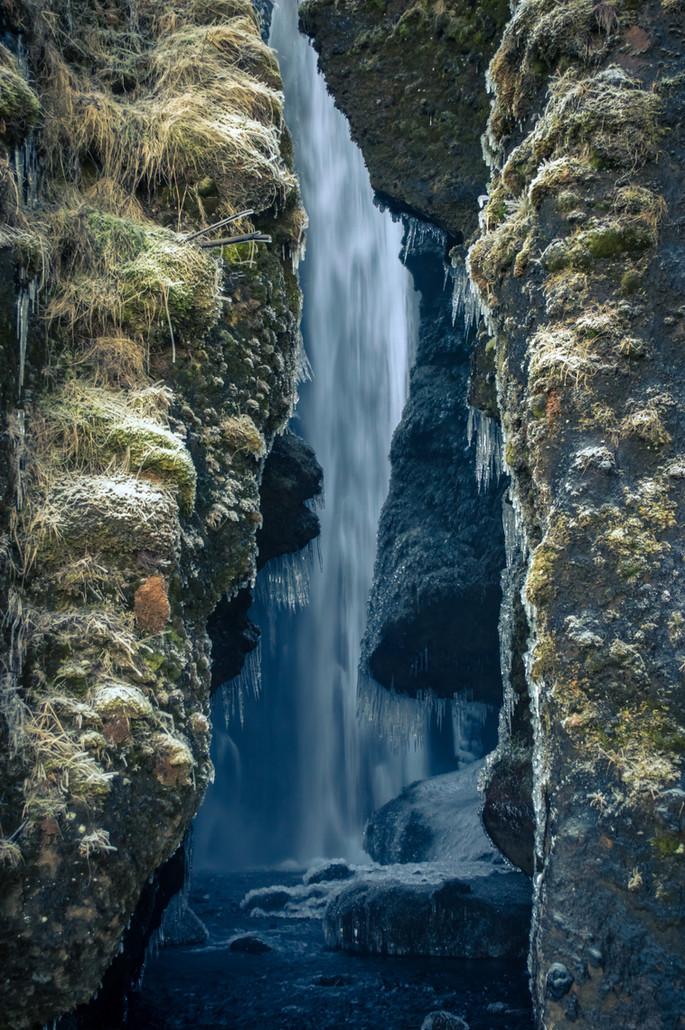 Hidden frozen waterfalls.