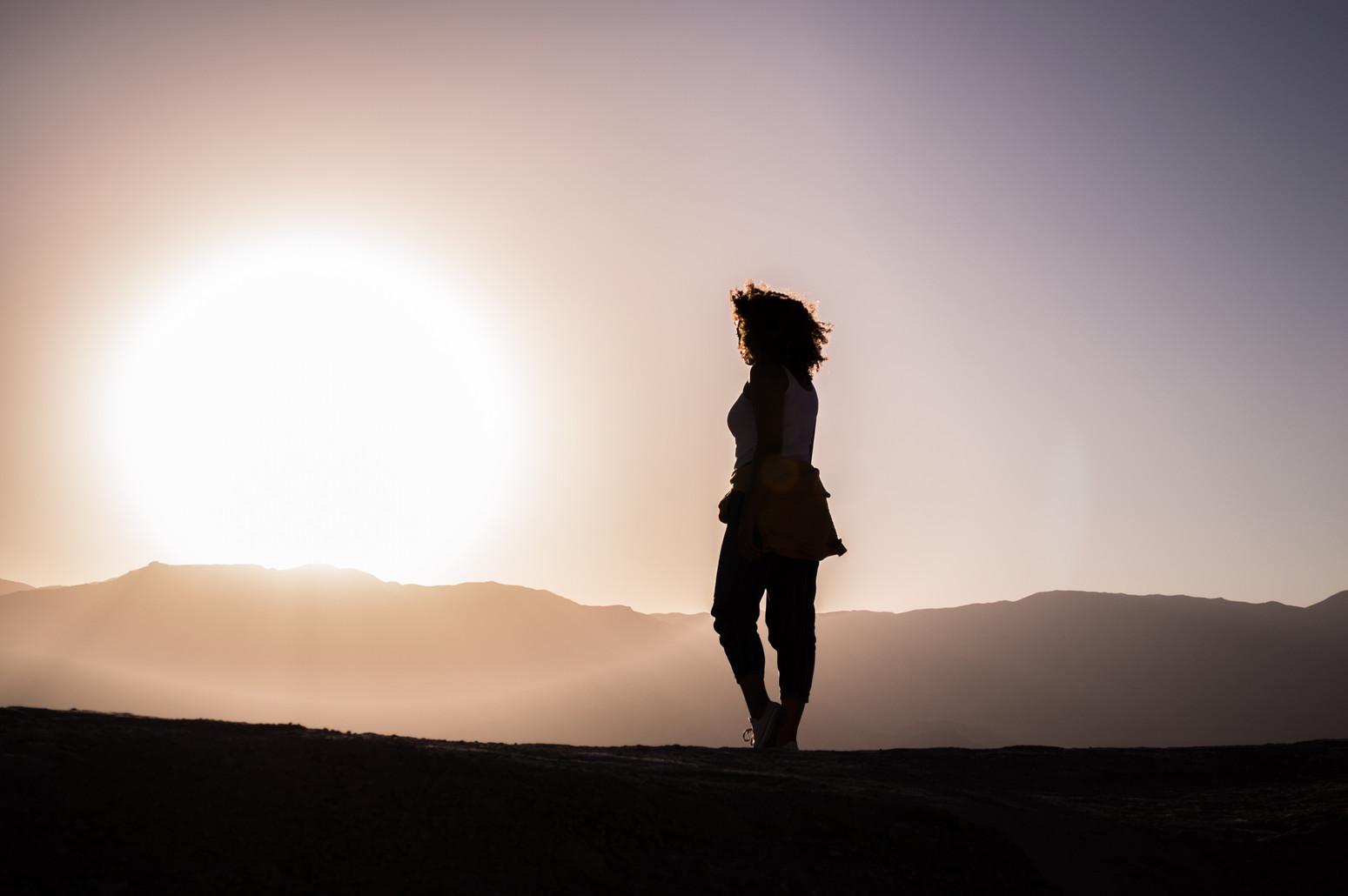 Walking into the horizon.