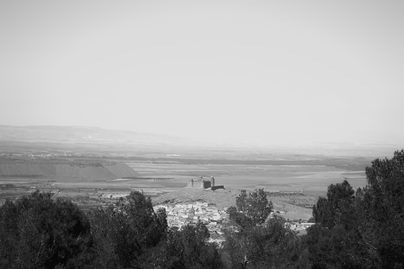 La Calahorra and across the plain from the Sierra Nevada mountains