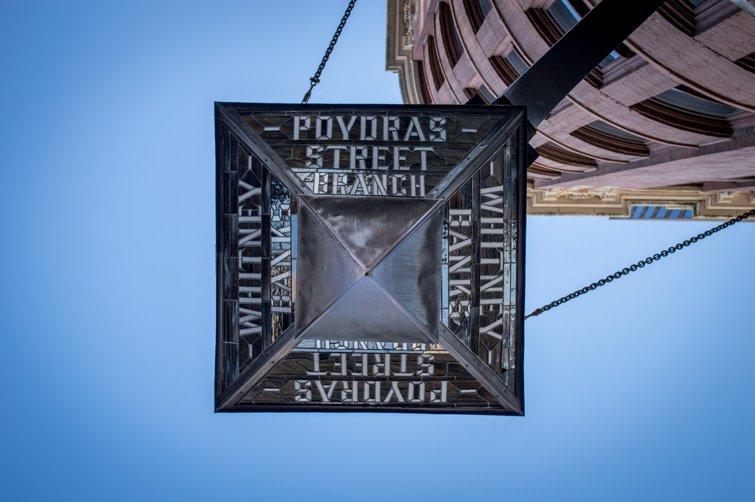 Beautiful stained glass lantern showing the names of the streets in downtown New Orleans.