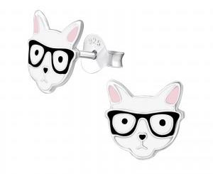 Sterling Silver Cats in Glasses earrings