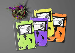 Halloween Bats Composition Books Mockup.