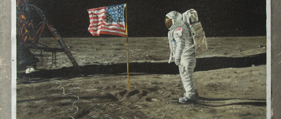 Aldrin and the American flag, 2019