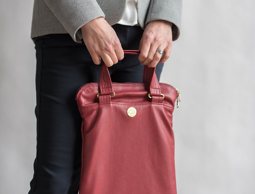 Smart Leather Laptop Sleeve In British Berry Red